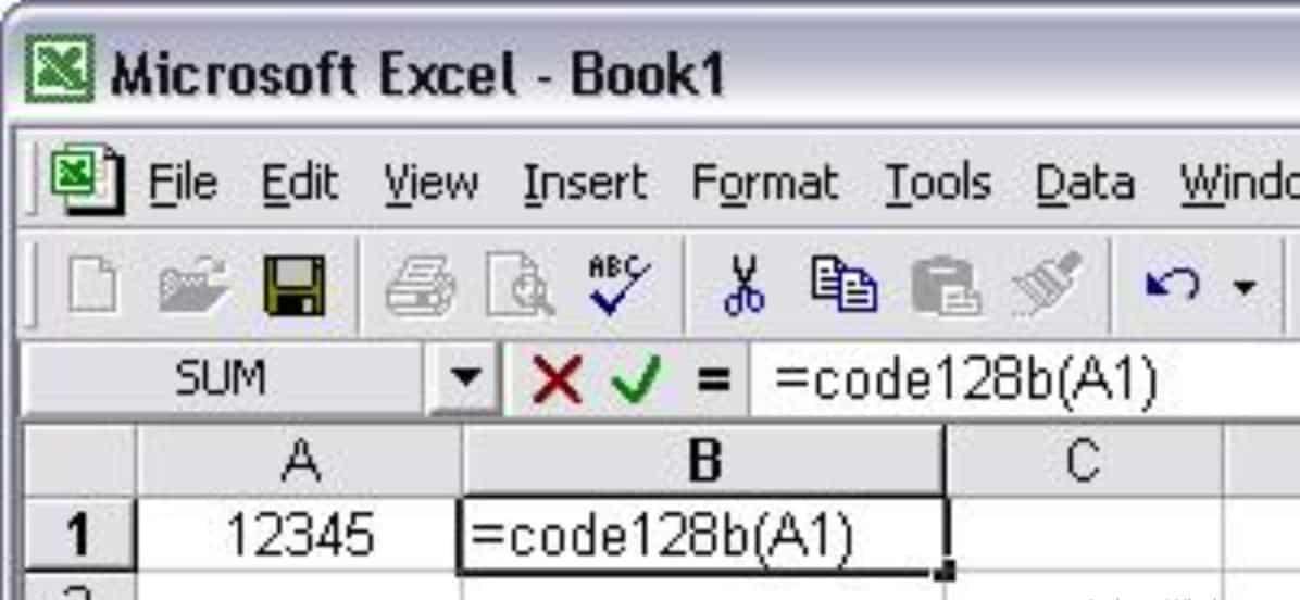 Ketikkan-fungsi-barcode-pada-sel-di-sebelahnya-yaitu-Code128A1-pada-sel-B2-kemudian-tekan-enter.