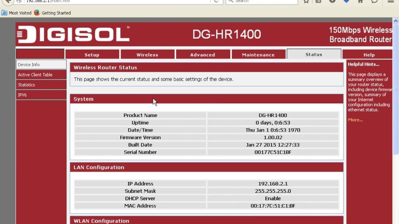 Pada-laman-Digisol-Router-klik-Status-kemudian-Active-Client-Table