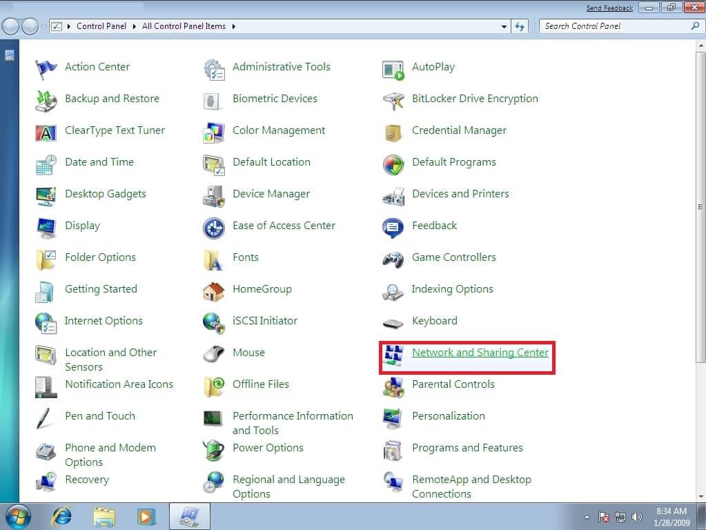 Selanjutnya-jendela-Control-Panel-akan-terbuka-klik-opsi-All-Control-Panel-Items-selanjutnya-klik-pilihan-Network-and-Sharing-Center